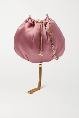 Rosantica Fatale Tasseled Satin Shoulder Bag - Pink