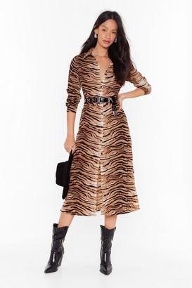 Nasty Gal Womens Easy There Tiger Button-Down Midi Dress - Beige