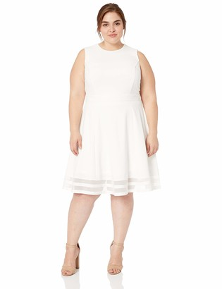 Calvin Klein Women's Size Fit and Flare Dress with Sheer Inserts at Hem