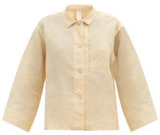 Rossell England - Long Sleeve Linen-poplin Pyjama Shirt - Light Yellow