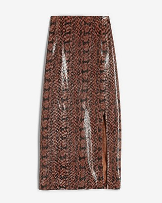 Express High Waisted Vegan Leather Snakeskin Pencil Skirt