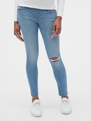 Gap Maternity Soft Wear Demi Panel True Skinny Jeans with Distressed Detail