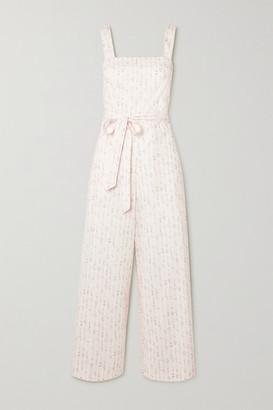 TVF Shortcake Belted Floral-print Cotton Jumpsuit - Pastel pink