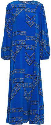 Ganni Cloverdale Printed Washed-silk Maxi Dress