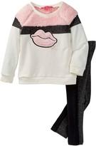 Betsey Johnson Faux Fur Colorblock Lip Top & Legging Set (Toddler Girls)