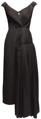 Marni Pleated Off-shoulder Cotton-crepe Dress - Black