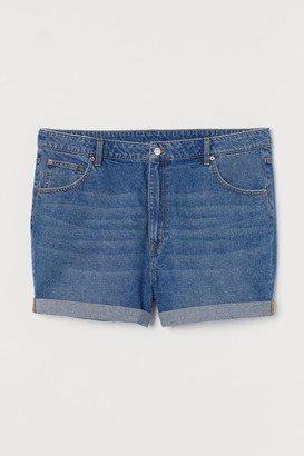 H&M H&M+ Mom Fit Denim Shorts - Blue