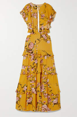 Johanna Ortiz La Vie En Rose Tiered Floral-print Silk Crepe De Chine Maxi Dress - Mustard