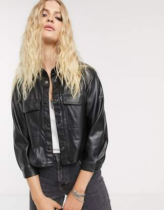 Bershka cropped faux leather shirt in black