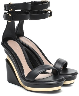 Alexander McQueen Trompe l'Oeil leather wedge sandals