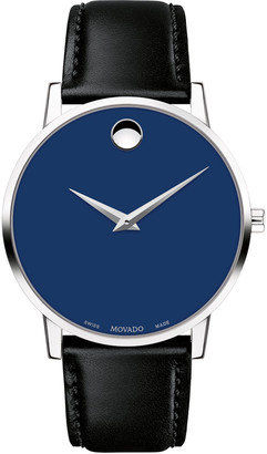 Movado Men's 40mm Ultra Slim Watch with Leather Strap & Blue Museum Dial