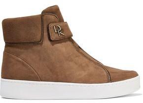 Donna Karan Tria Zip-embellished Suede High-top Sneakers