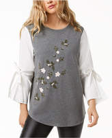 Kensie Bell-Sleeve Embroidered Sweater