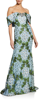 Badgley Mischka Floral Lace Off-the-Shoulder Gown