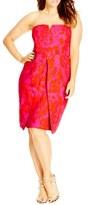 City Chic Sexy Mono Print Strapless Sheath Dress (Plus Size)