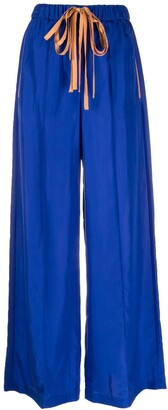 Alysi Drawstring-Waist Silk Palazzo Trousers
