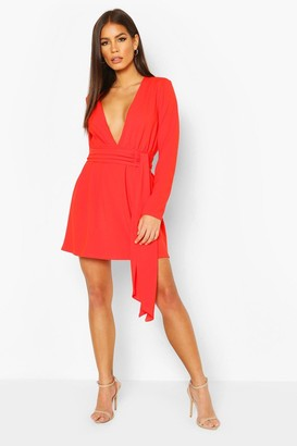 boohoo Plunge Front Draped Mini Dress