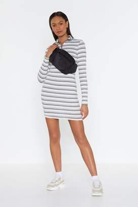 Nasty Gal Womens Lucky Stripe Zip Mini Dress - White - 6, White