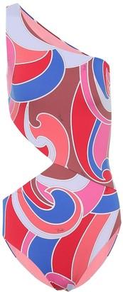 Emilio Pucci Beach Printed cutout one-shoulder swimsuit