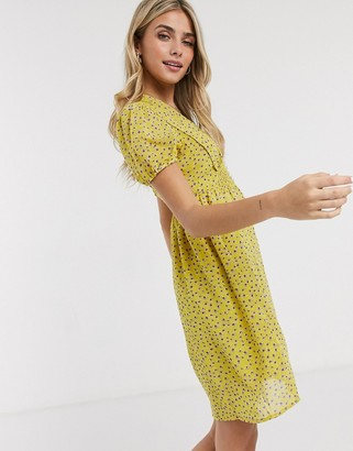 Brave Soul cassie skater dress in yellow floral print