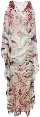 Roberto Cavalli Cold-shoulder Embellished Printed Georgette Gown