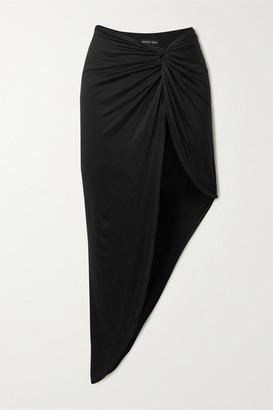 Marika Vera Grace Knotted Asymmetric Stretch-jersey Skirt - Black