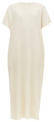 Raey Grown-on Sleeve Darted Wool-crepe Midi Dress - Ivory