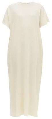 Raey Grown-on Sleeve Darted Wool-crepe Midi Dress - Womens - Ivory