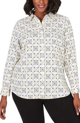 Foxcroft Ava Tile Print Wrinkle Free Shirt