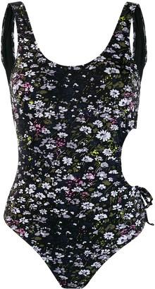 Ganni cut out floral swimsuit