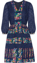 Anna Sui Lace-Paneled Floral-Print Silk-Voile Mini Dress