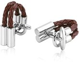 MoAndy Men's Cufflinks Stainless Steel Leather Cord Design
