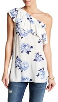 Blu Pepper One Shoulder Print Blouse