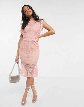 Paper Dolls lace fishtail midi dress in pink