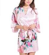 FAYBOX Bridesmaid Peacock Short Kimono Robe Wedding Satin Silk Sleepwear M