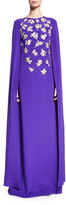 Oscar de la Renta Threadwork Embroidery Silk Caftan Gown, Violet