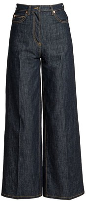 Valentino High-Rise Chambray Wide-Leg Jeans