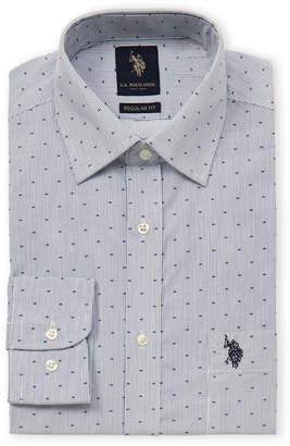 U.S. Polo Assn. Regular Fit Pinstripe Long Sleeve Dot Dress Shirt