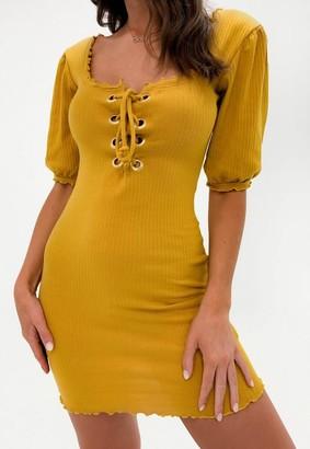 Missguided Rib Eyelet Lettuce Hem Mini Dress