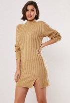Missguided Camel Rib High Neck Knit Sweater Dress