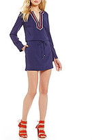 Laundry by Shelli Segal Embroidered-Neck Long Sleeve Tie-Waist Tunic Dress