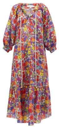 Borgo de Nor Natalia Floral-print Silk-blend Midi Dress - Womens - Multi