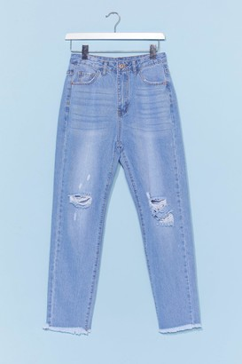 Nasty Gal Womens Distressed Raw Hem Mom Jean - Blue - 6, Blue