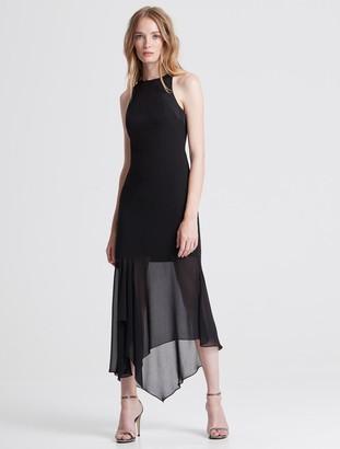 Halston Crepe Georgette Midi Dress