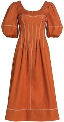 Jonathan Simkhai Lena Puff-Sleeve Midi Dress
