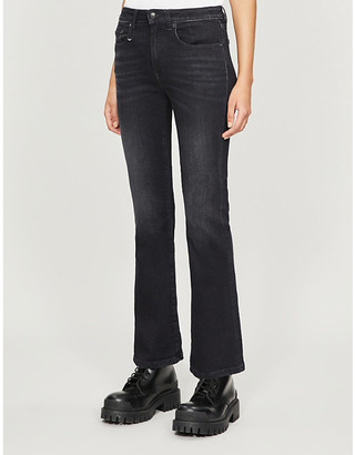 R 13 Flared stretch-denim jeans