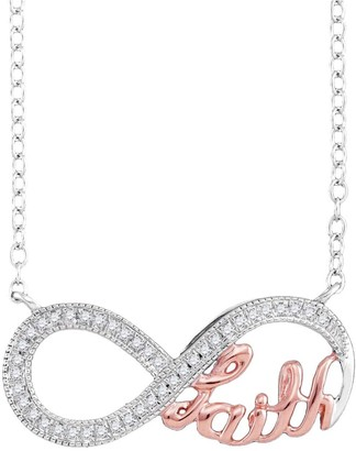 Diamond Pink Infinity Necklace in 10k White Gold