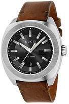 Gucci Analog GG2570 Classic Stainless Steel Toscano Calf Leather Strap Watch