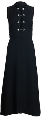 Proenza Schouler Sleeveless Barbell Front Crepe Midi Dress