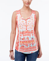 Style&Co. Style & Co Petite Printed Embroidered Tassels Top, Only at Macy's